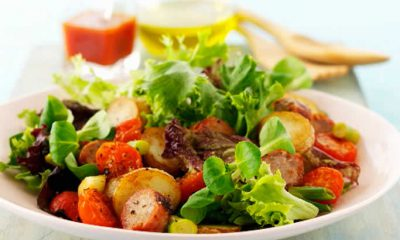Spring Mix Salad with Fried Potatoes and Sausages