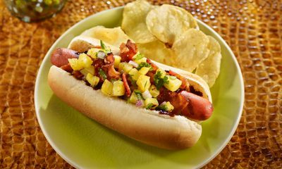 Hawaiian Hot Dogs w/ Grilled Pineapple Salsa