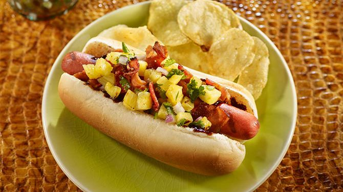 Hawaiian Hot Dogs w/ Grilled Pineapple Salsa
