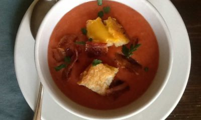 Tomato Soup with Bacon and Grilled Cheese Croutons
