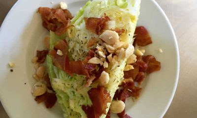 Iceberg Wedge with Marcona Almonds and Hoffy Bacon