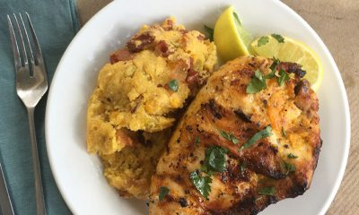 Grilled Mexican Style Chicken with Cheesy Bacon Spoonbread