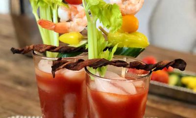 Hoffy Bloody Mary Recipe with Bacon Swizzle Sticks