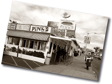 Archival Photo of Pink's Hot Dog Stand with Hoffy Signage