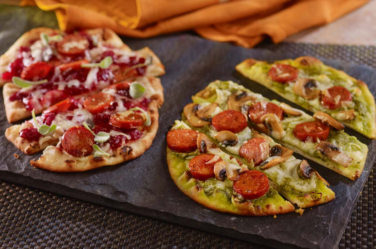 ANDOUILLE FLATBREAD PIZZA